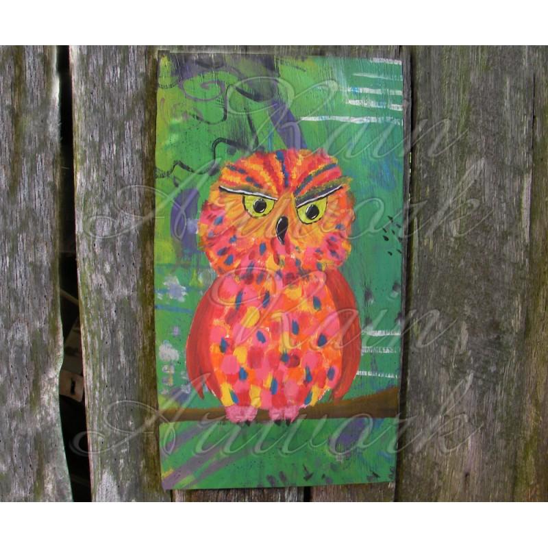 Primitive Funky Folk Art Orange Owl Painting Colorful
