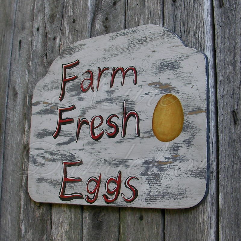 Original Primitive Folk Art Farmhouse Farm Fresh Eggs Sign