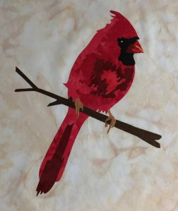 scarlet cardinal, laser cut fusible applique, art applique, Artfully Quilted Design