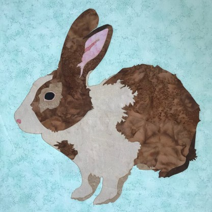 """Artfully Quilted Design LLC """"Brown Bunny"""" Fusible Laser Cut Applique"""