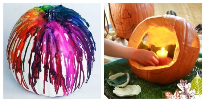 Pin This Melted Crayon Pumpkin 25 No Carve Decorating Ideas
