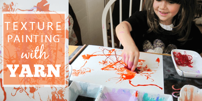 Kids Art Activity - Texture Painting with Yarn