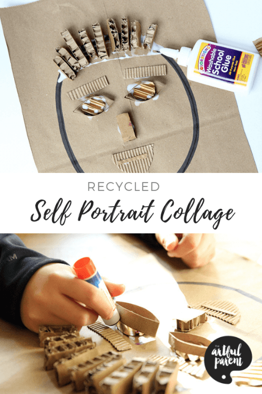 Learn how to make a recycled self-portrait collage in this fun activityfor kids. Project & post by Joanna Walker of The Blue Barn. #kidsart #artforkids #artsandcrafts #kidsactivities #kidscrafts #craftsforkids