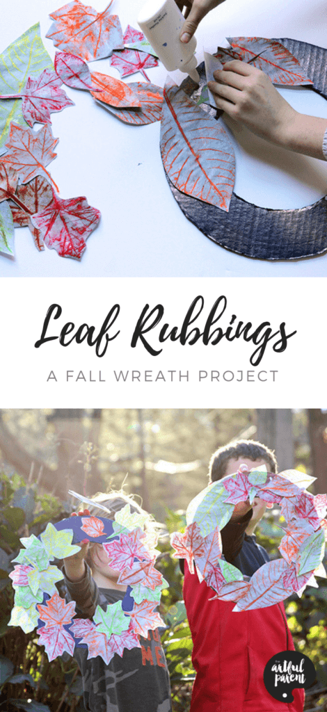 Make leaf rubbings & create a colorful wreath that will last indefinteily in this easy fall project from Joanna of The Blue Barn. #fallcrafts #artsandcrafts #kidscraft #kidsactivities #craftsforkids #handmadegifts #recycledcraft #craftsforkids
