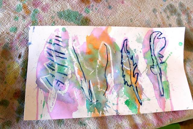 Colorful oil pastel & watercolor painting of feathers – nature drawing ideas for kids