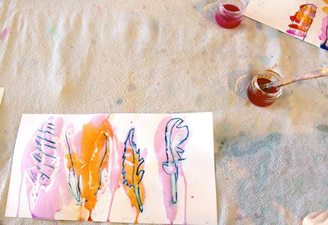 Feather drawing & liquid watercolor & brush in cup in this easy nature drawing and painting activity