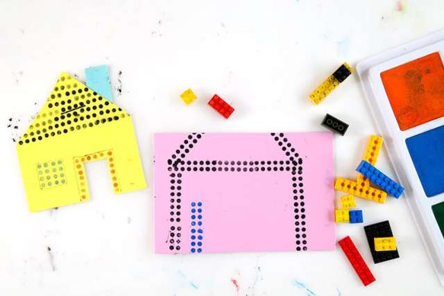 LEGO prints – Two houses printed on paper with LEGOs & stamp pads