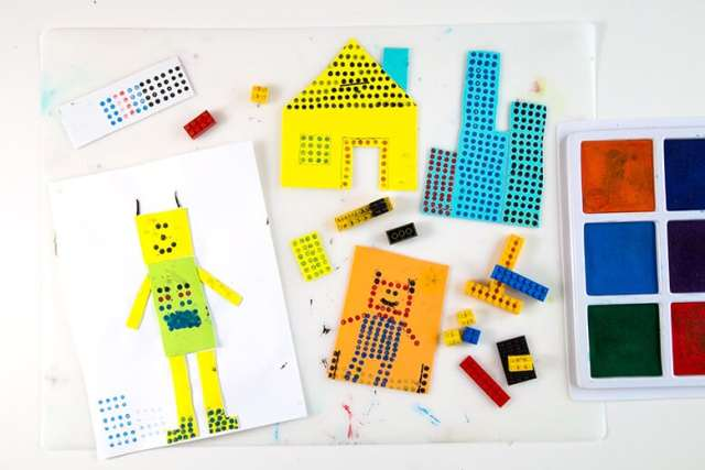 Make LEGO prints of people, houses & cities with just an ink pad & LEGOs