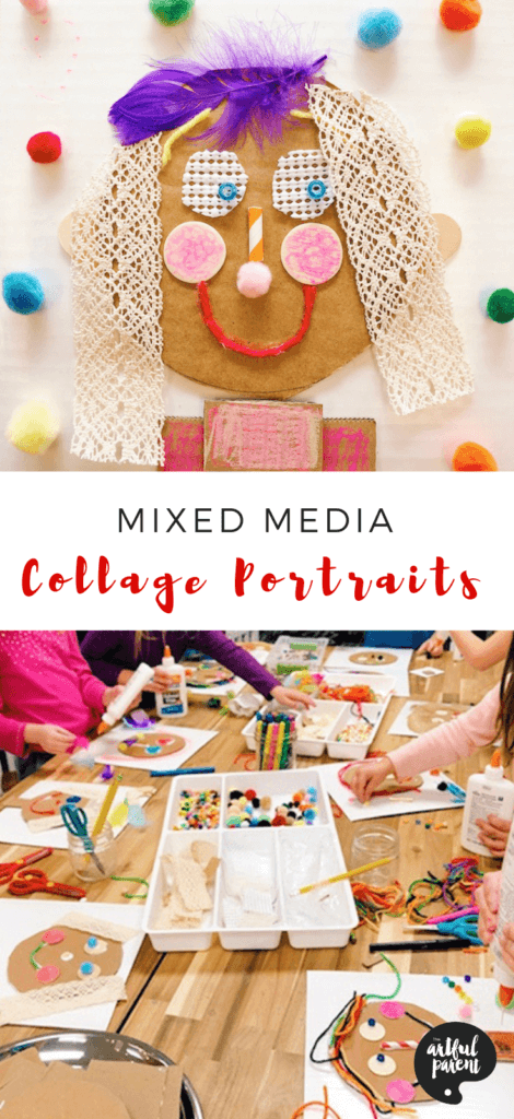 Explore texture with these adorable mixed media collage portraits for kids! Use cardboard as a base & create features with any collage materials on hand. #artsandcrafts #sensory #sensoryactivity #kidscrafts #cardboard #recycledcraft #preschoolers