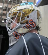 Olivier Roy wearing 2012-13 Mask. Left Side. (Photo: Patricia Teter. All Rights Reserved.)