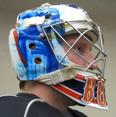 Tyler Bunz 2012-13 Mask: Right Side with Fuhr. (Photo: Patricia Teter. All Rights Reserved.)