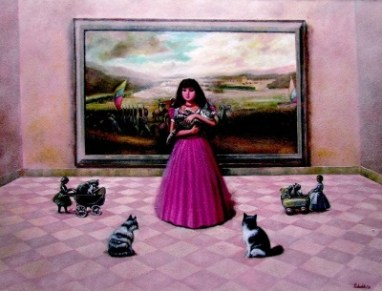GIrl with Cats by Piedrahita
