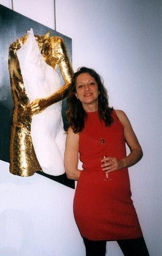 Serena Kovalosky with artwork
