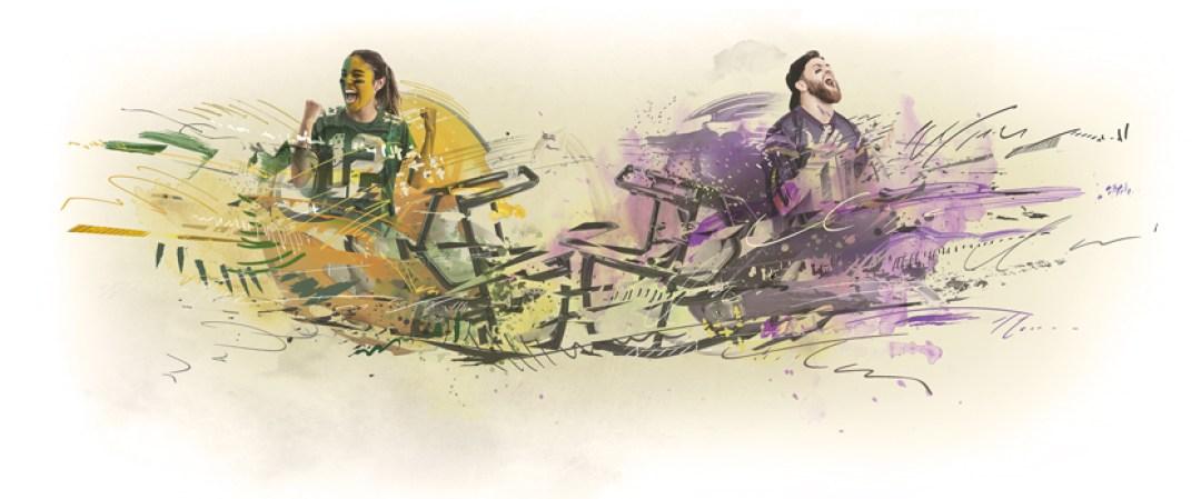 packers fans vikings fans rivalry illustration