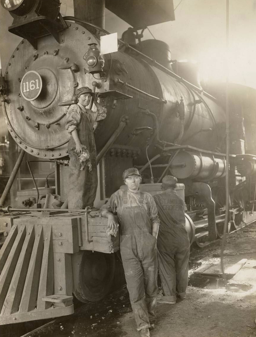 Women taking place of men on Great Northern Railway at Great Falls 1919