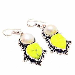 Druzy and Biwa Pearl Earrings