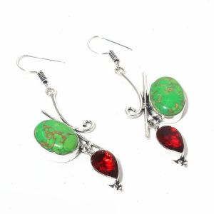 Copper Turquoise and Garnet Earrings