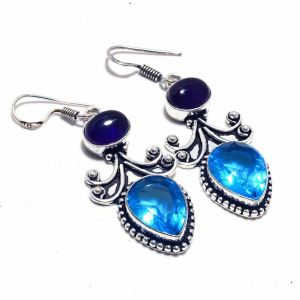 Blue Topaz and Tanzanite Earrings