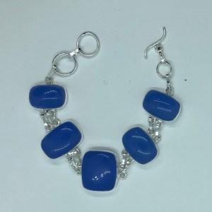Blue Chalcedony Silver Bracelet