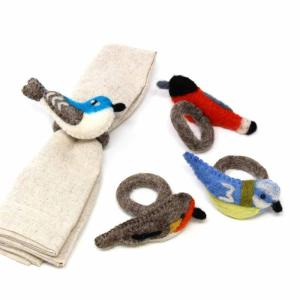 Set of 4 Birds Felted Napkin Rings