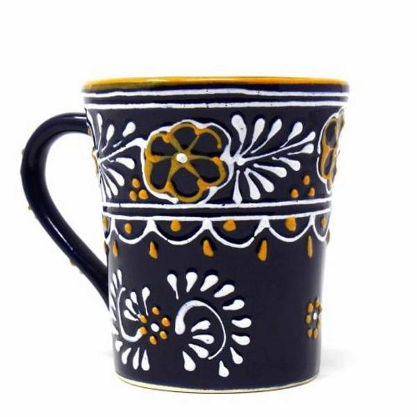 Flared Blue Pottery Mug