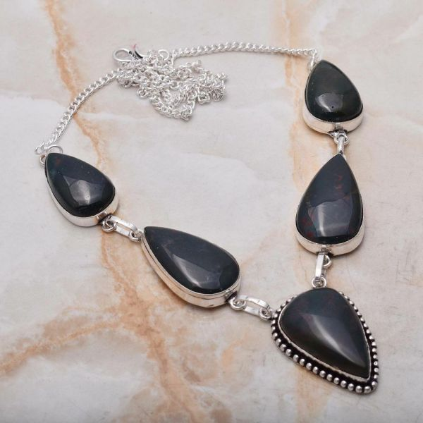 Necklace - Sterling Silver with Bloodstone