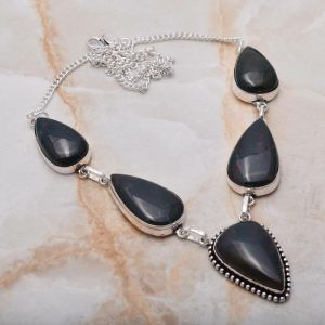 Necklace – Sterling Silver with Bloodstone