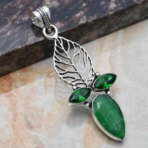 Pendant – Sterling Silver with Emerald and Green Quartz Stones