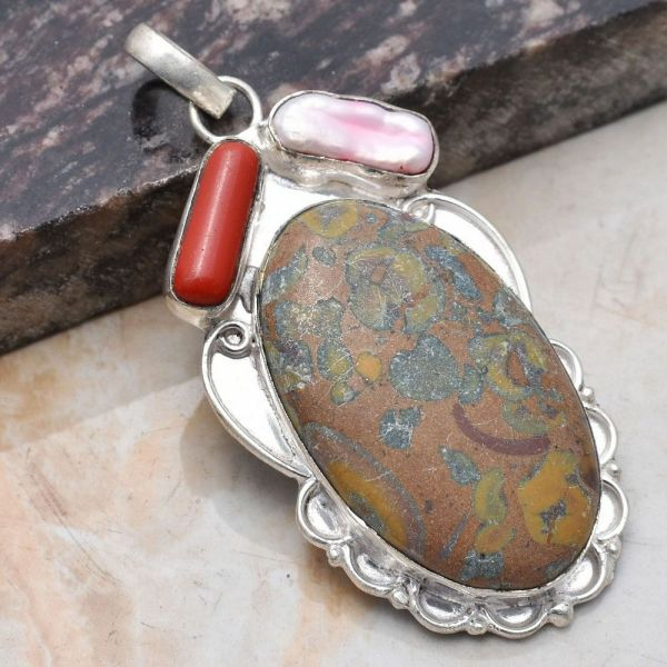 Pendant - Sterling Silver with Jasper and Coral