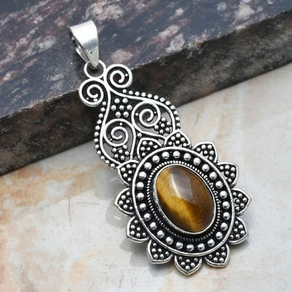 Pendant - Sterling Silver with Tiger Stone