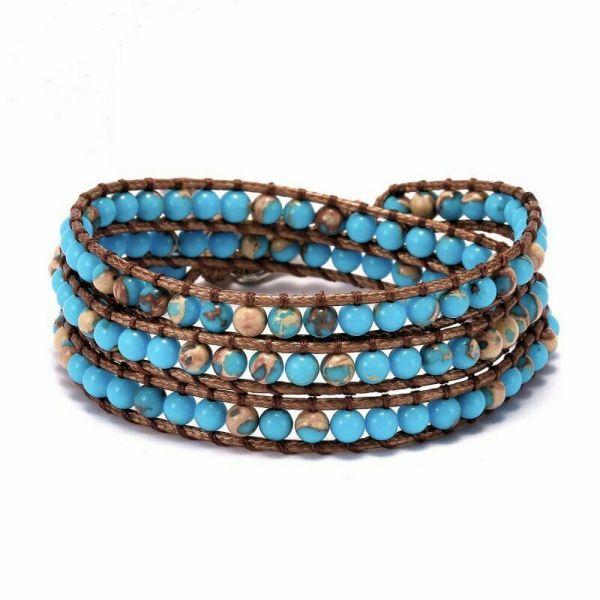 Stone long leather wrap blue bracelet