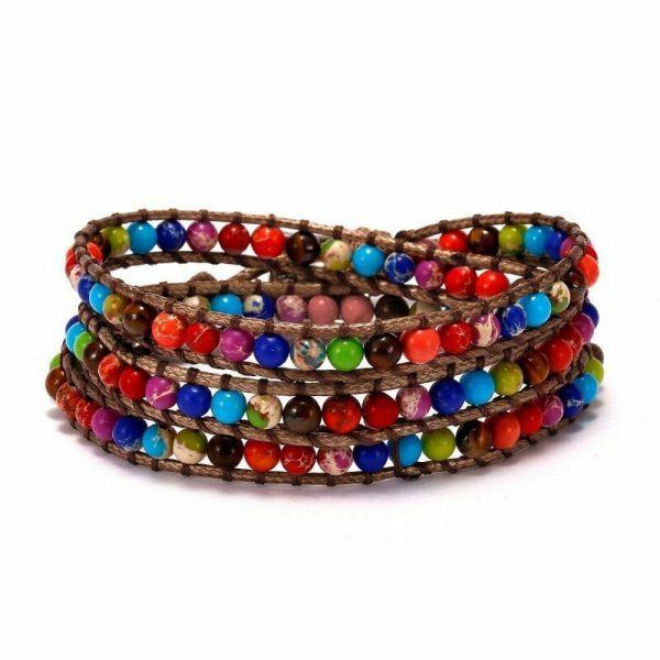 Stone leather - long wrap colorful bracelet