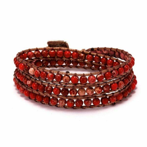 Stone long leather wrap red bracelet