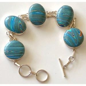 Rainbow Calsilica Sterling Silver Bracelet