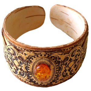 Birch Bark Bracelet with Amber