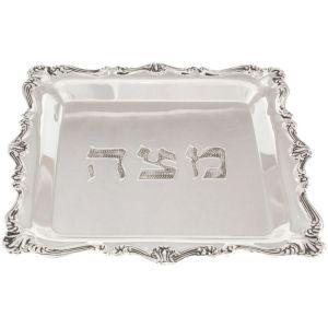 Matzah Plate – Silver Ornament Borders