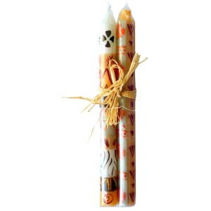 Pair of Hand Painted Taper Candles – Akono Design