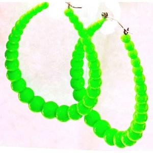Green Hoop Earrings