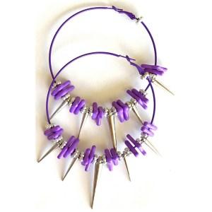 Purple and Silver Hoop Earrings