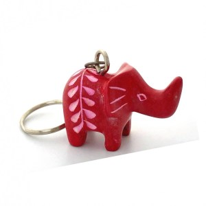 Small Soapstone Elephant Key Chain