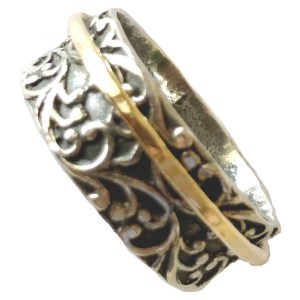 Ring – Sterling Silver and Gold Spinner