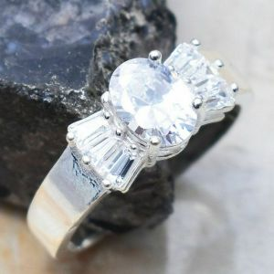 Ring – Sterling Silver with White Topaz