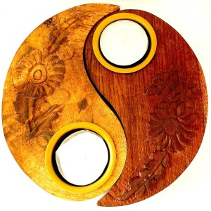 Yin Yang Wood Tea Light Holder