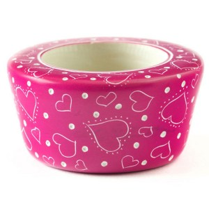 "Soapstone Candle Holder Pink – ""Much Love"""