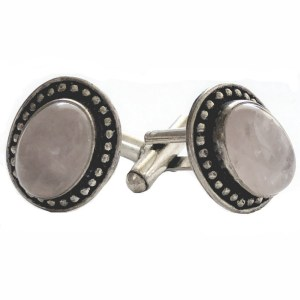 Sterling Silver Cufflinks Rose Quartz