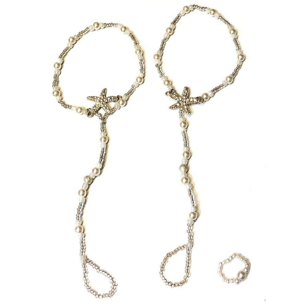 Pair of Pearl Starfish Barefoot Sandal and a Ring