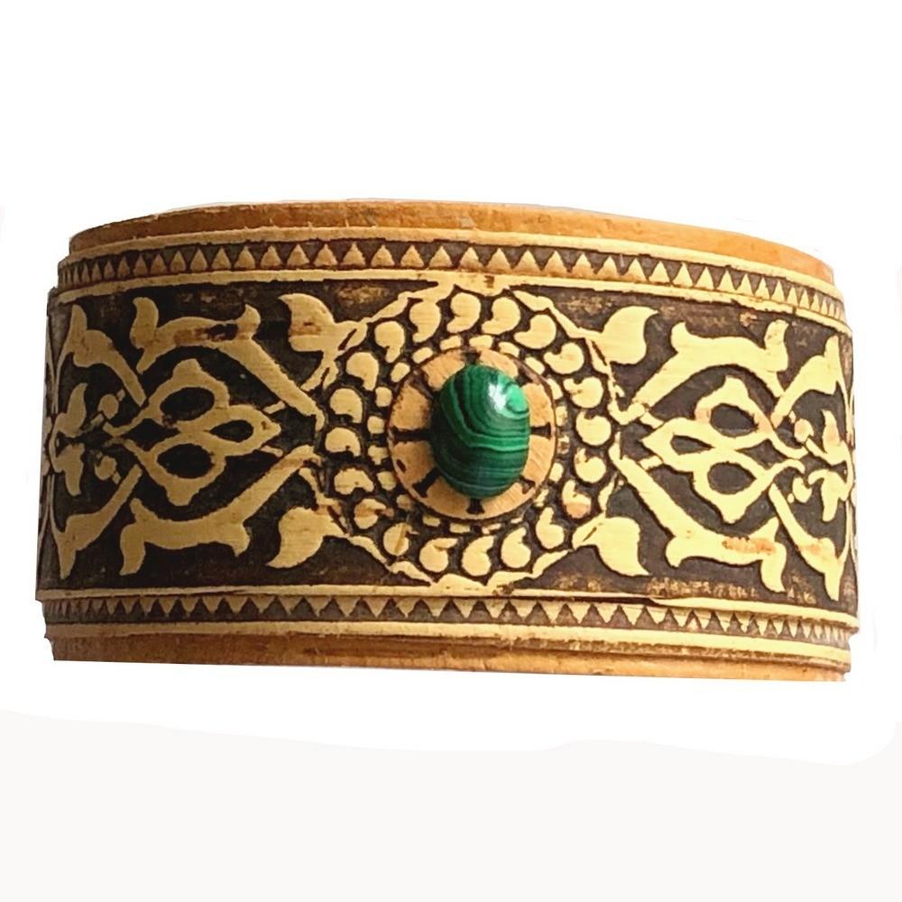 Birch Bark Bracelet with Malachite