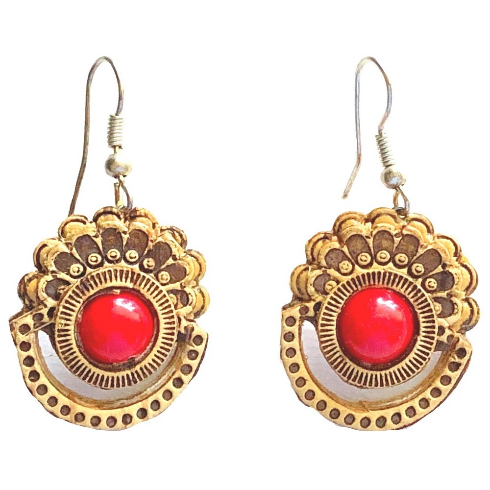 Earrings – Birch Bark with Coral