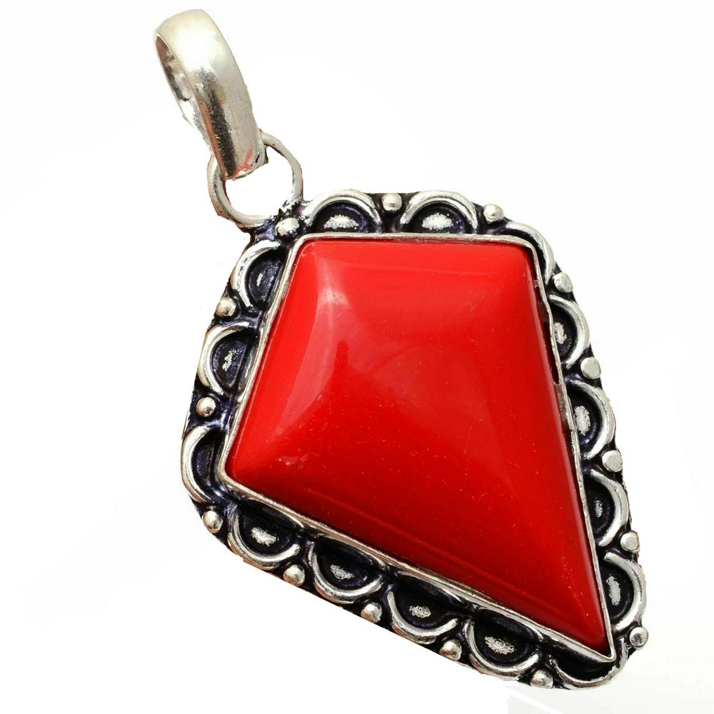 Pendant - Sterling Silver with Coral