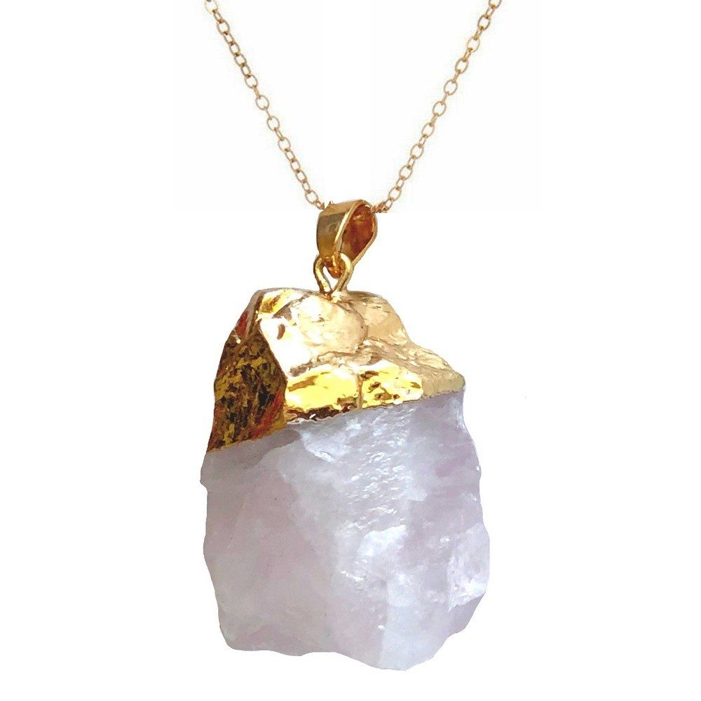 Pendant - Rock Crystal - Rose Quartz in Gold